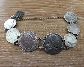 ANTIQUE SOLID SILVER coin bracelet