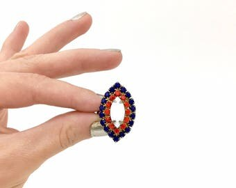 Vintage Red, White, & Blue Ring - 1960s Navette Design with Glass Stones - USA American Patriotic - Retro Stars and Stripes