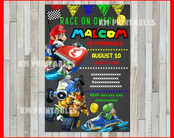 Mario Kart chalkboard party Invitation, Mario Kart invitation, Mario Kart chalkboard Birthday Invitation