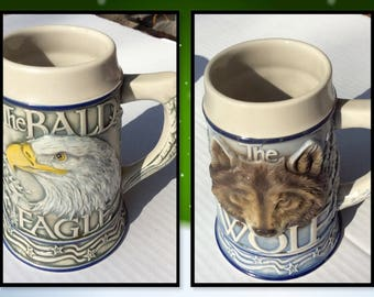 """Vintage Steins """"American Animal Stein"""" Wolf Stein Eagle Stein Series Vintage Avon Beer Steins Animal Lovers Gift Nature Lovers Gift"""