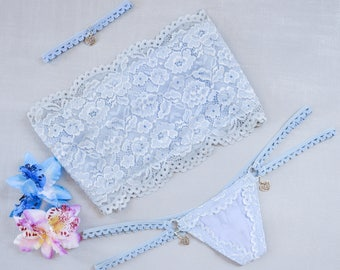 Light blue lingerie set. Lace bandeau, thong and choker necklace set with charms.