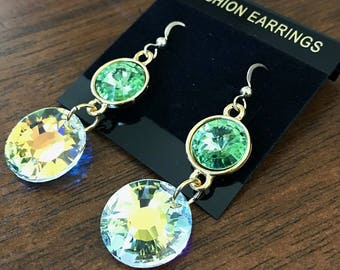 Crystal Green and White Earrings