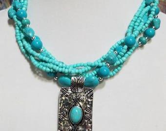 Handmade turquoise beaded necklace w/pendant