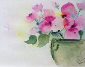 "Watercolor, flowers ""Bouquet"" flowers, nature, 17 x 24 cm, unique"