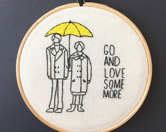 Harold and Maude Embroidery Hoop Art // Hand Stitched // For Movie Lovers