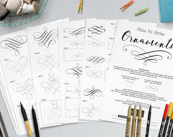 Lettering ornaments | How to draw | Practice sheets | Bullet jornal | Doodle | Elements | worksheets | Hand draw | Digital file | Printable