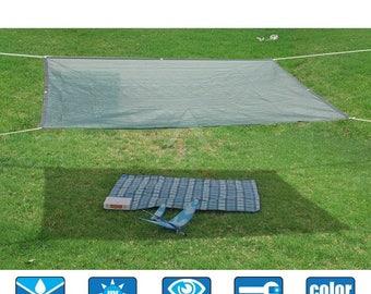 Custom Sized HDPE 50% Sun Block Garden Netting Mesh - With Black Trim - Dark Green