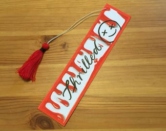 Bloody thriller bookmarks / red handmade tassel bookmark / small / gift for readers
