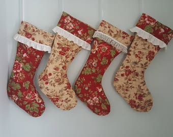 Christmas stocking/family Christmas stockings/Red floral Christmas stocking/Christmas decoration stocking/pretty Christmas stockings/
