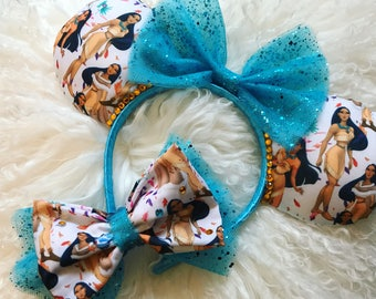 Colours of the Wind - Disney Pocahontas Minnie Mouse Ears and Oversized Bow Giftset. Pocahontas Ears and Bow / Clip