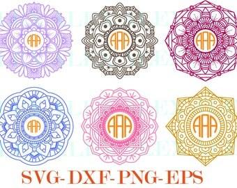 70% OFF, Mandala Circle Monogram Frames SVG, Mandala svg, Mandala Monogram Frame svg, png, eps, dxf, Circle Frames, Circle Frames SVG,