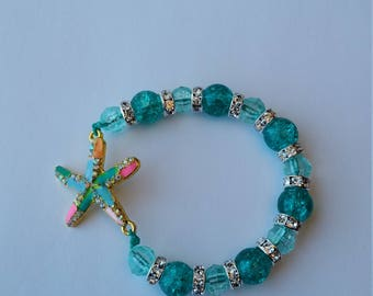 Green Hair Bracelet with colored starfish