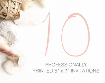 10 Professionally Printed Invitations White Envelopes Included And Free US Shipping, Printed Invitations