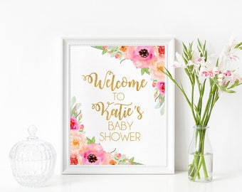 Welcome To Baby Shower Print, Welcome Baby Sprinkle, Welcome Bridal Shower, Watercolor Floral Welcome Print, Floral Shower, Welcome Shower