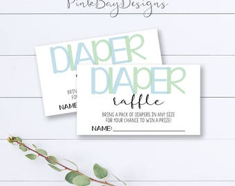 Blue And Green Diaper Raffle Tickets, Diaper Raffle Insert, Diaper Raffle Ticket, Boy Baby Shower, Baby Shower Insert, Printable
