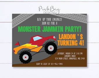 Monster Truck Invitation, Monster Truck Birthday Invitation, Truck Birthday Invite, Monster Truck Birthday, Truck Birthday Party, Printable