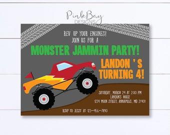 Monster Truck Invitation, Monster Truck Birthday Invitation, Truck Birthday Invite, Monster Truck Birthday, Truck Birthday Party, Printable