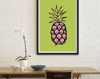 Pineapple print, printable, digital art, colourful print, wall décor