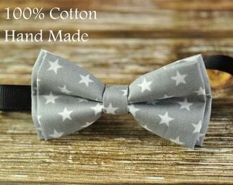 Baby Infant Boy Kids 100% Cotton Handmade  GREY Gray White STARS PATTERN Bow Tie Bowtie Party Wedding