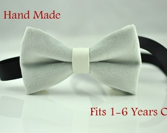 Baby Infant Kids Boy Solid SILVER GREY Velvet WHITE Faux Leather Bowtie Bow Tie 1 to 6 Years Old Wedding Party