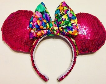 Ready to Ship: Hot Pink Sequin ears with candy sprinkles bow