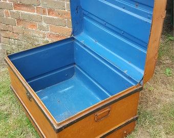 Vintage Tin Trunk. Burnt Orange with Colbalt Blue Inside