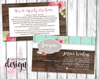 Lipsense Business Card, Lipsense by SeneGence Marketing Kit, How To Apply, Application Instructions Rustic Wood Shabby Chic Floral PRINTABLE