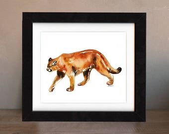 art, original, cougar, puma, paintings, original art, gift, cougar painting, wall art, decor, spirit, totem, animal, wild, saltwatercolors