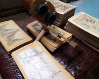 Antique Stereoscope with 163 Cards