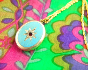 Enamel Garnet Locket Necklace - Turquoise Locket - Garnet Locket - Victorian Locket - Gold Filled Jewelry