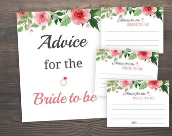Floral Bridal Shower, Advice for the Bride to be Cards, Bridal Shower Games, Bachelorette Party, Hens Night, Advice for the Newlyweds, GFBS4