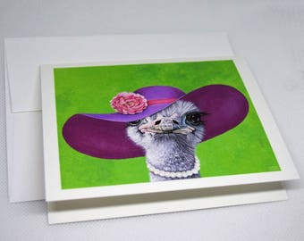 Ostrich in Hat and Pearls Greeting Card. 4x5 blank card. Birthday card. Wedding & engagement card. Congratulations card.