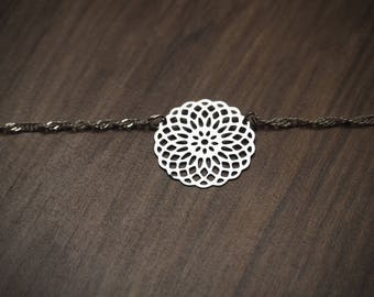 """Silver necklace """"rose"""""""