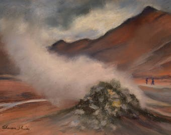 ICELAND Art in GEOTHERMAL ERUPTION Landscape Original 8.5 x 11.5 pastel painting by Sharon Weiss