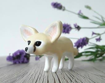 Fennec fox miniature handmade hand painted polymer clay animal figurine totem sculpture ornament
