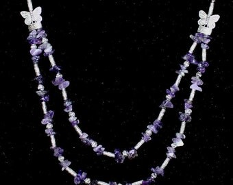 Vintage women's natural amethyst silver necklace double