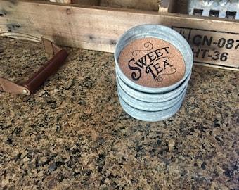 Mason Jar Coasters-Sweet Tea-Fun Coasters-Mason Jar Coasters-Mason Jar Lid Coasters-Drink Coasters-Rustic Coasters-Farmhouse Decor-Gift