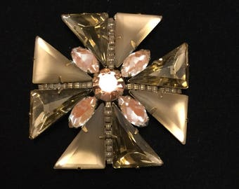 MALTESE CROSS  With Frosted Glass and Saphirets Stones Brooch/Pendant