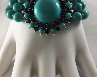 CROWN TRIFARI  FAUX Tourquoise and Sapphires Bracelet