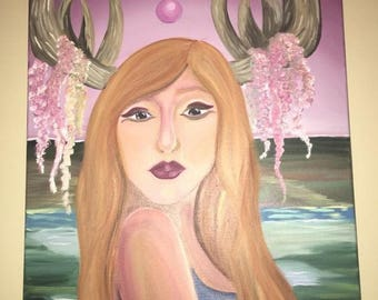 """Surreal Oil Painting - """"Lady Korhn"""" by Christina Farace - Inspired by Melissa Forman for College Assignment"""