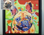 Custom POP ART 12in x 12in x 1 3/8in Oil/Acrylic Pet Portrait Painting + Short Time Lapse Video Production