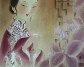 Oriental Painting, Chinese Lady Print, Chinese Print