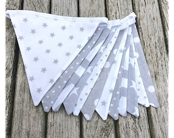 Grey & white bunting, grey chevron star bunting, nursery decor, baby shower