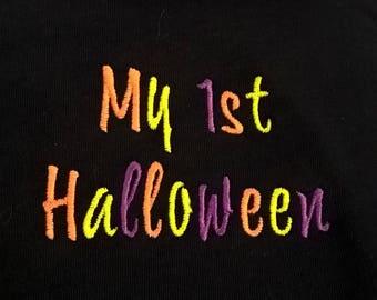 My First Halloween embroidered baby bib - 1st Halloween, 31st October, pumpkin, trick or treat