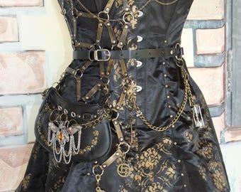 Steampunk corset satin dress