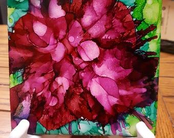 Flower alcohol ink tile