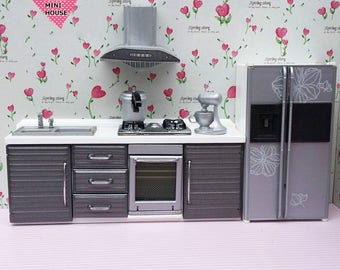 Dolls House Miniature Sliver Grey Kitchen Set-5pcs