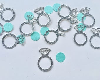 Engagement Ring Table Confetti - Tiffany Blue - Diamond Ring - Wearable Engagement Ring - silver - gold - Weddings - Engagement - Glitter
