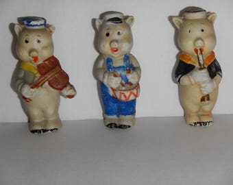 1930s Disney Bisque Figurines Borgfelt Three Little Pigs Musicians