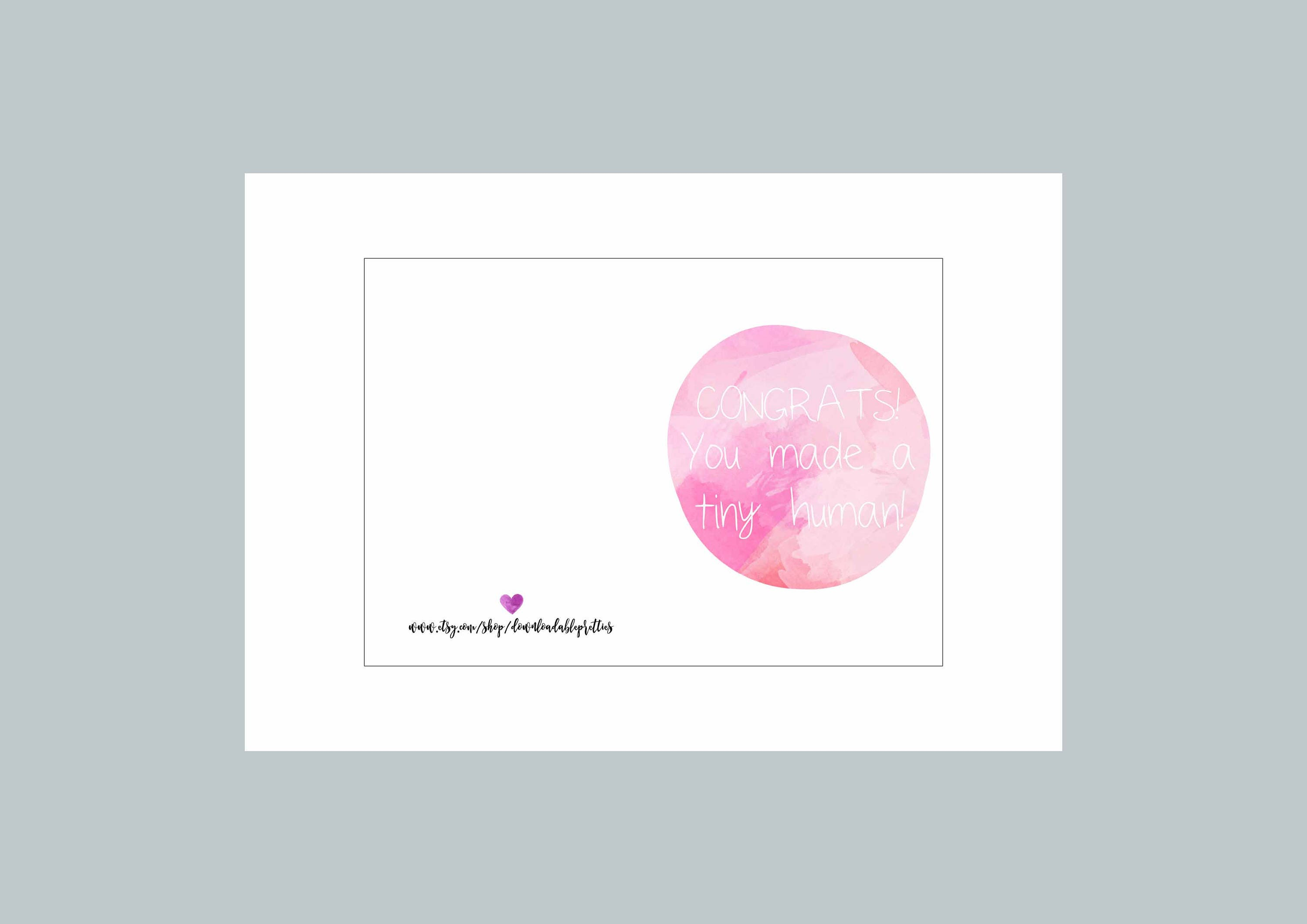 pink new baby card congratulations instant card printable card